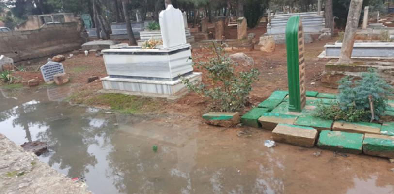 Şanlıurfa'da Mezarlık sular altında kaldı