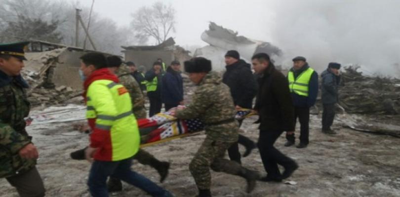 Türk uçağı Bişkek yakınlarında düştü: 32 ölü!
