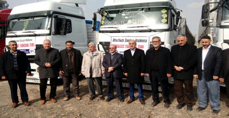Urfa'dan Suriye'ye insanı yardım tırları yola çıktı