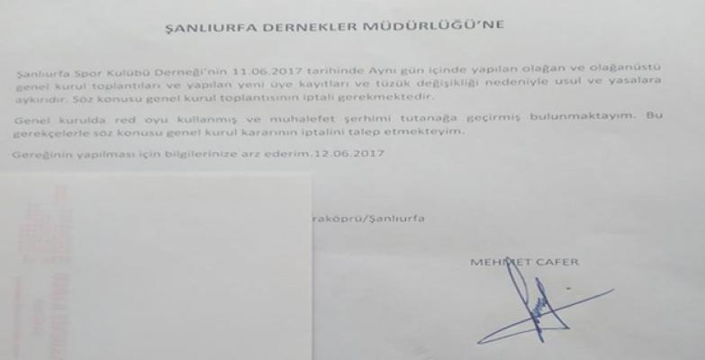 Şanlıurfaspor Yönetim Kurulu Eski Üyesinden itiraz geldi.