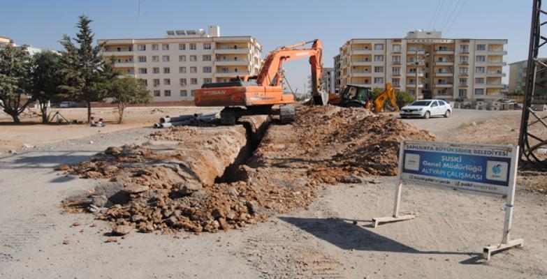 ŞUSKİ Ceylanpınar'da Alt Yapı Çalışmalarına Devam Ediyor