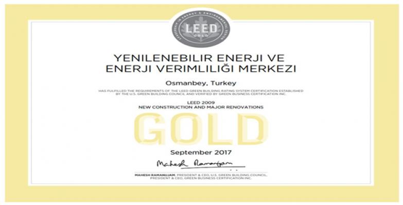 Uluslararası LEED-GOLD Sertifikası verildi