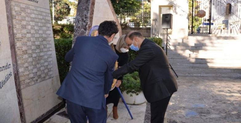 Urfa'da 24 Kasım anısına şehitliğe çelenk bırakıldı