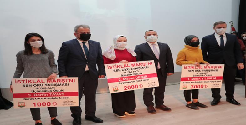 İstiklâl marşı'nı sen oku' yarışmasının kazananları ödüllerini aldı