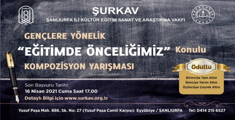 """ŞURKAV'dan """"eğitimde önceliğimiz"""" konulu kompozisyon yarışması"""