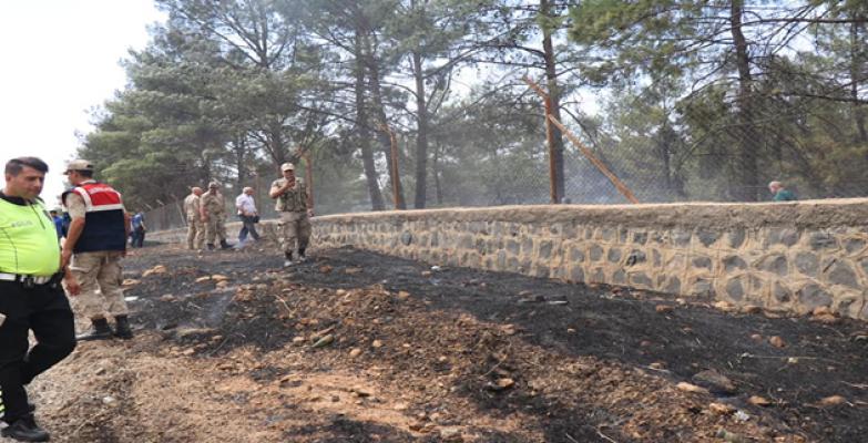 Urfa'da okul bahçesinde yangın