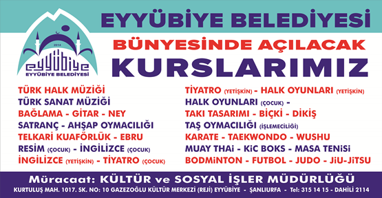 Eyyübiye Belediyesi Ücretsiz Kurslarına Devam Ediyor