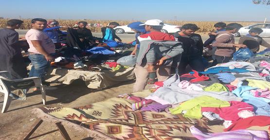 Suriye sınırına pazar kuruldu