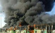 Tahliye otobüslerini ateşe verdiler