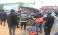 Urfa'da meydan gelen kazada temizlik işçisinin kolu koptu