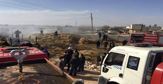 Urfa'da tonlarca saman kül oldu