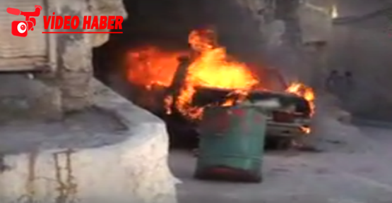 Urfa'da yanan araç kül oldu