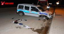 Urfa'da Polis aracı kaza yaptı, 2 yaralı